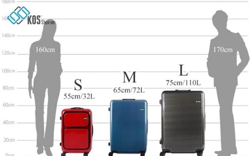 kích thước vali kéo